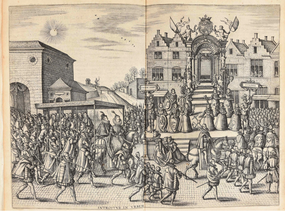 Illustration of a court procession in front of a castle