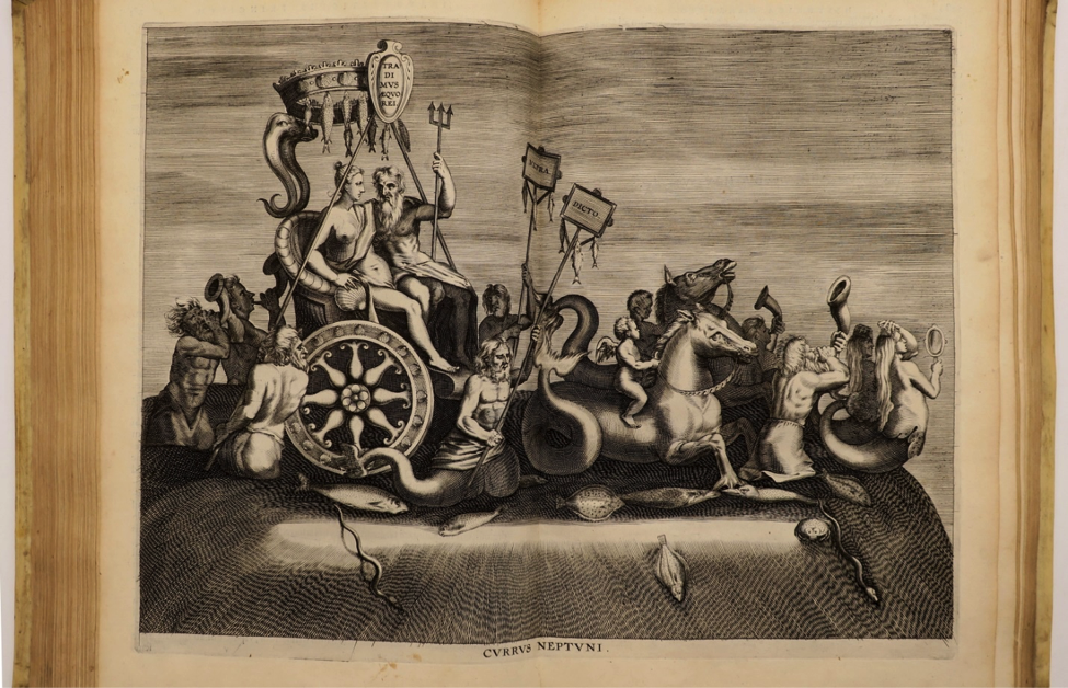 A mythical procession featuring sea creatures pulling a carriage