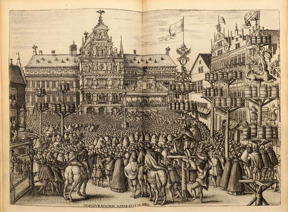 Illustration from Festivals, Splendid Ceremonies featuring a crowd of people