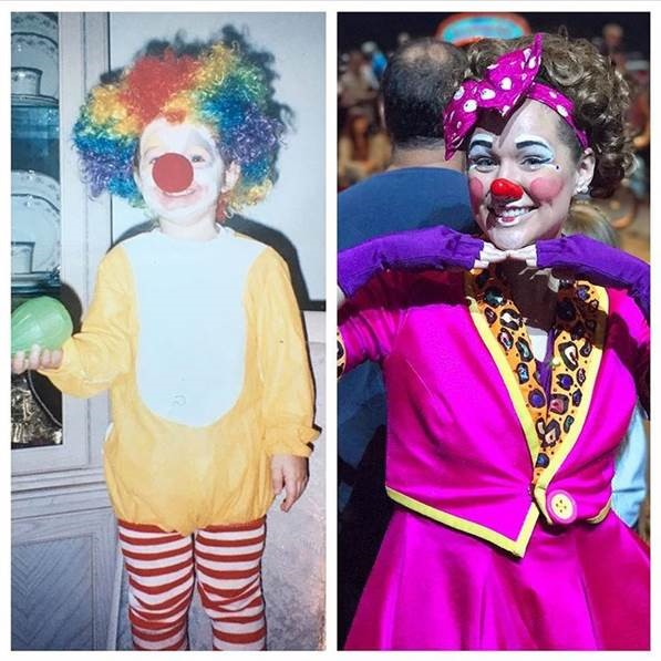 Beth Walters as a clown at age 2 and 22