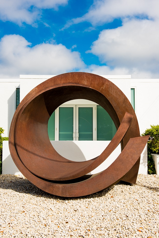), Beverly Pepper's steel sculpture Curve in Curve (2012) Gift of Keith and Linda Monda to The Ringling