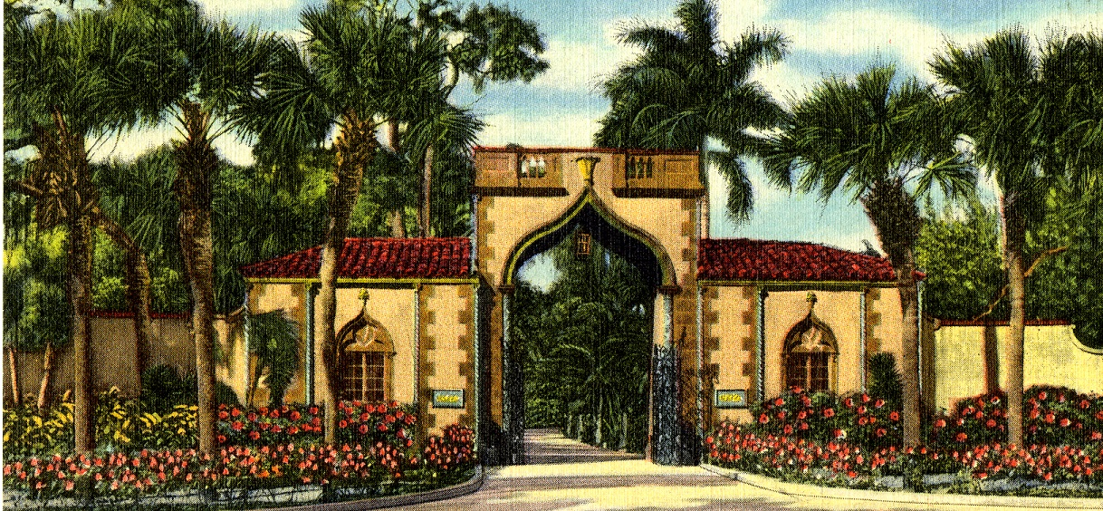 Vintage postcard of Ca' d'Zan Gatehouse at The Ringling