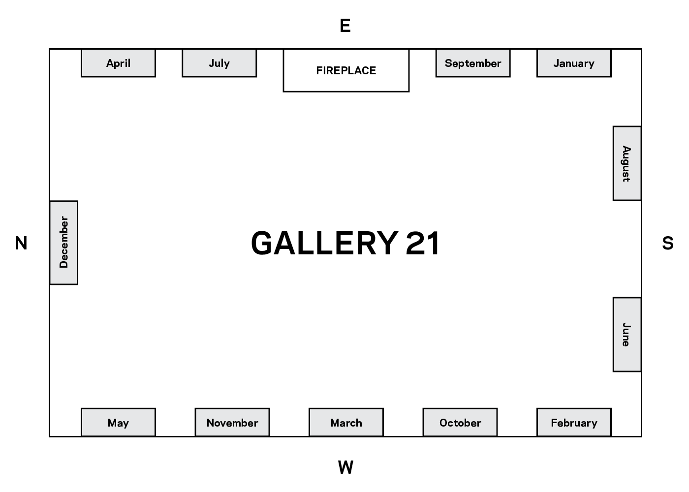 Layout of Gallery 21 at The John and Mable Ringling Museum of Art