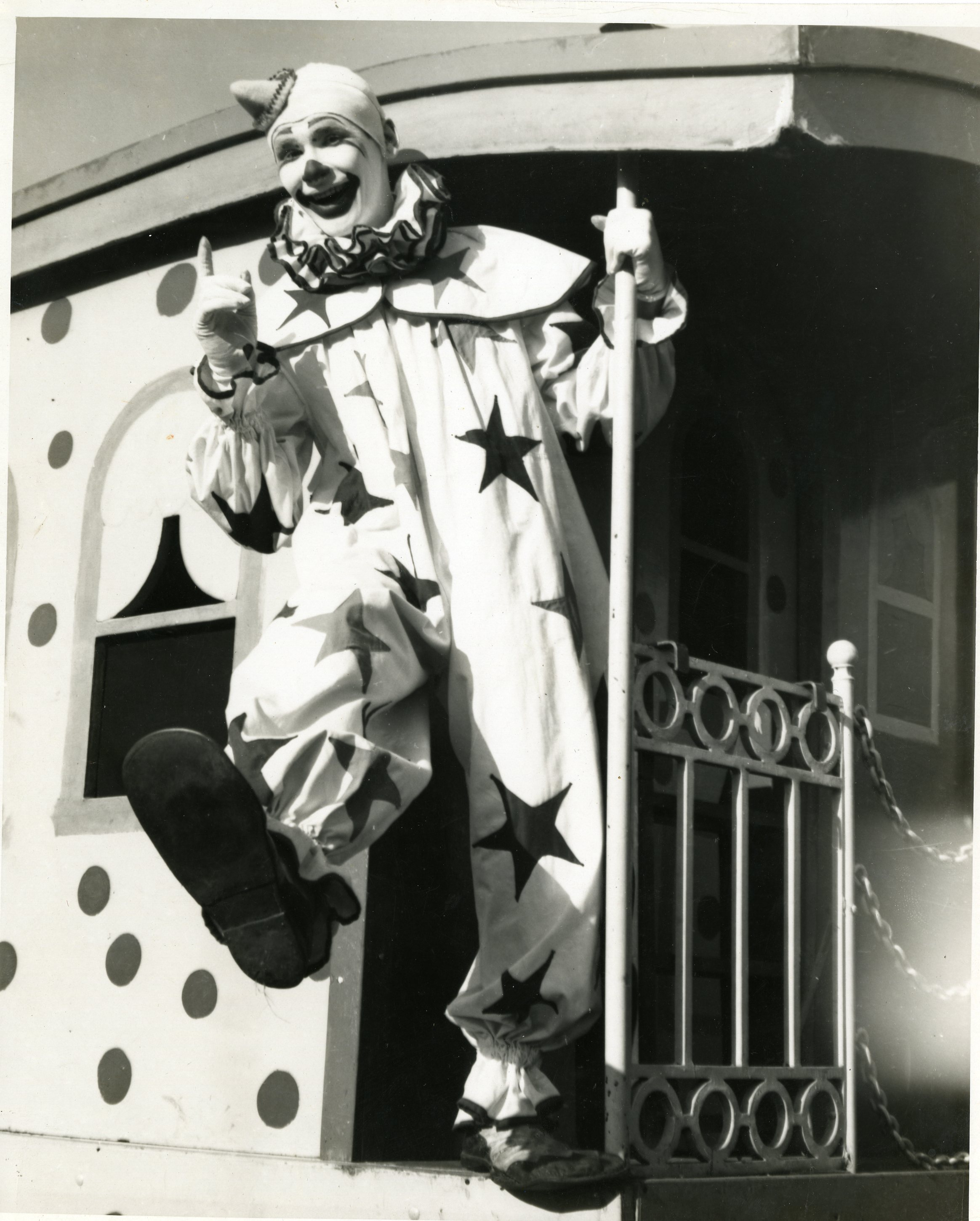 Mel Miller in clown costume in 1945