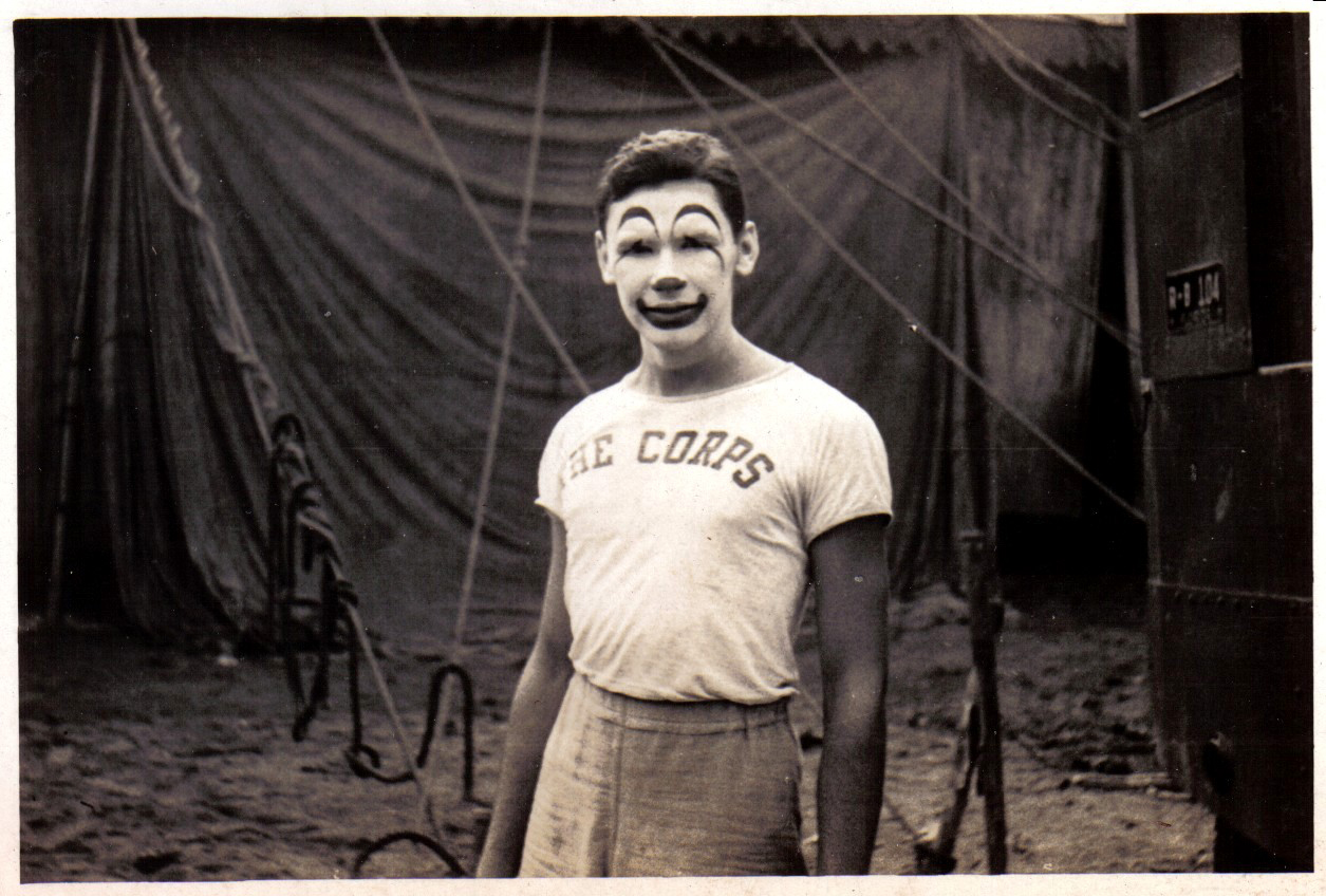 Mel Miller in clown makeup, dated August 18th 1945