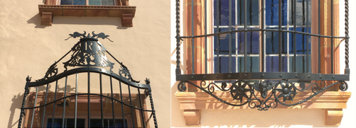 Details from Wrought-iron grilles on first floor windows of Ca' d'Zan Mansion at The Ringling