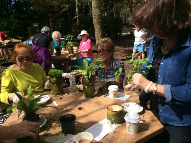 Participants creating kokedama in a Bayfront Gardens Workshop at The Ringling