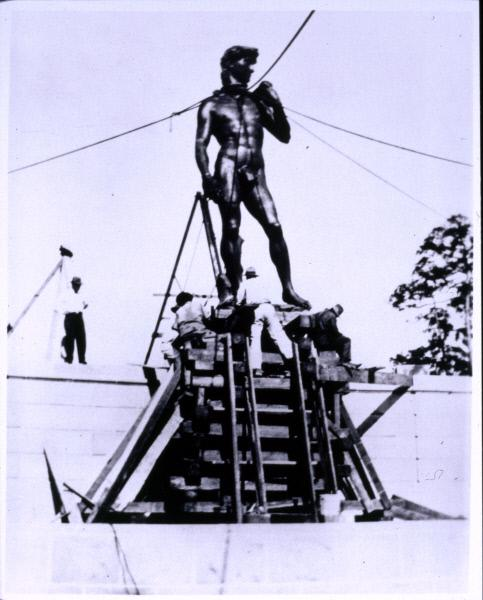 Installation of the statue of David at The John and Mable Ringling Museum of Art in the 1920s