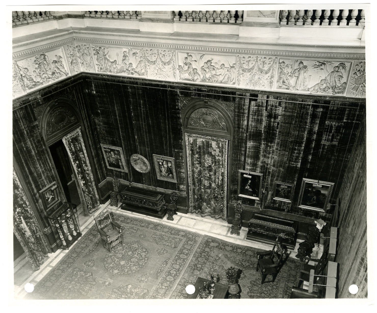 Frieze created by Austrian sculptor Karl Bitter in the Main Hall of Huntington Mansion in New York City, built in 1895
