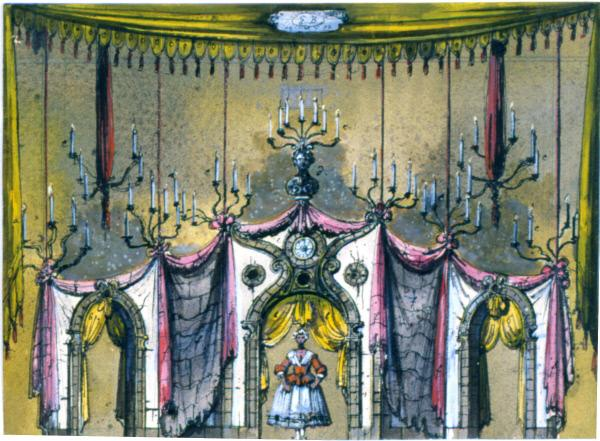 Set design from La Serva Padrona, by Eugene Berman