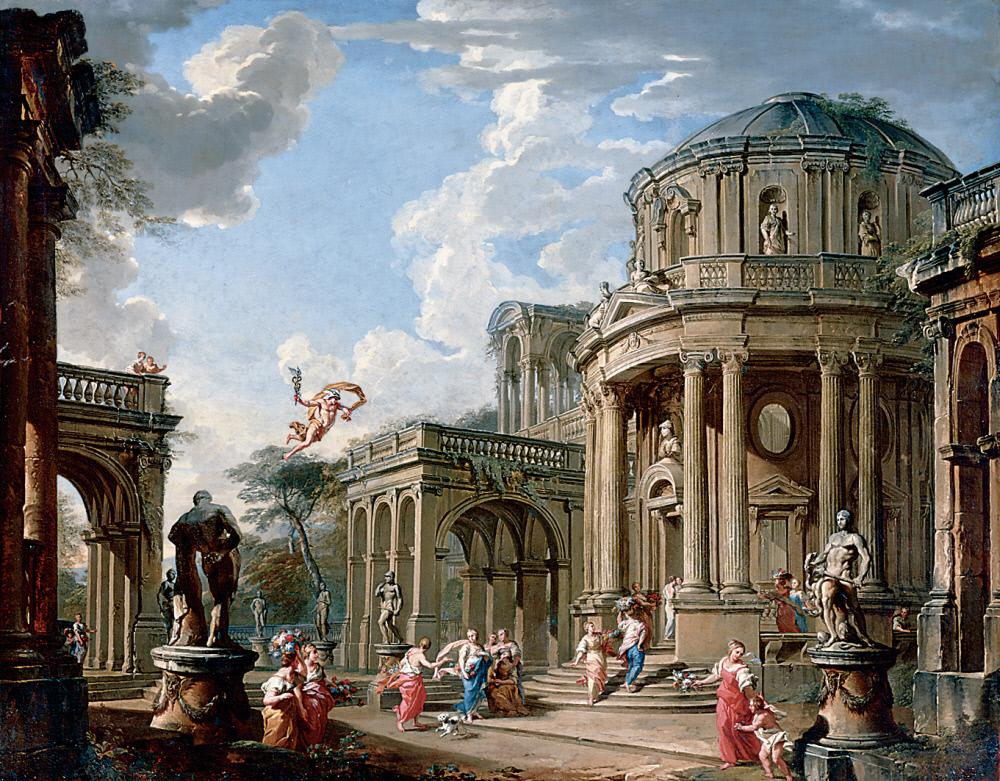 Hermes Appears to Calypso by  Giovanni Paolo Panini and workshop in The John and Mable Ringling Museum of Art