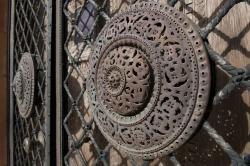Detail of wrought-iron front door of Ca'd'Zan mansion at The Ringling