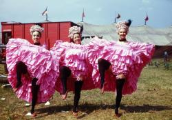 Color Slide of Three Aerial Can Can Girls: Laura Mae Mckenzie Mars Bennet in pink aerial costumes; Ringling Brothers and Barnum & Bailey Combined Shows; 1947