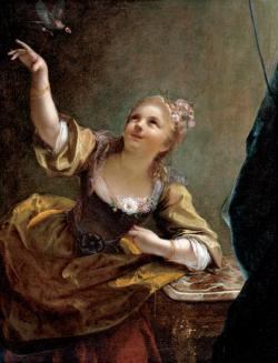 Girl Playing with a Bird on a String