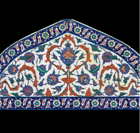 Tile Lunette Composite body (quartz, clay, and glaze frit) with colors painted on white slip under clear glaze