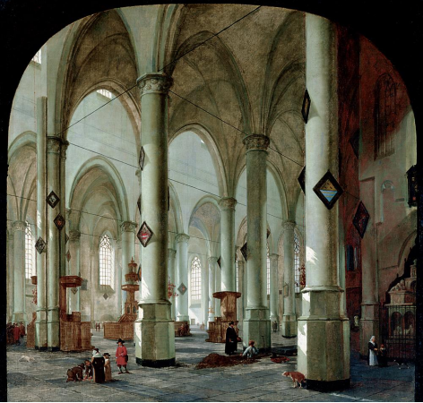 Interior of the Pieterskerk in Leiden by Hendrik Cornelisz. van Vliet