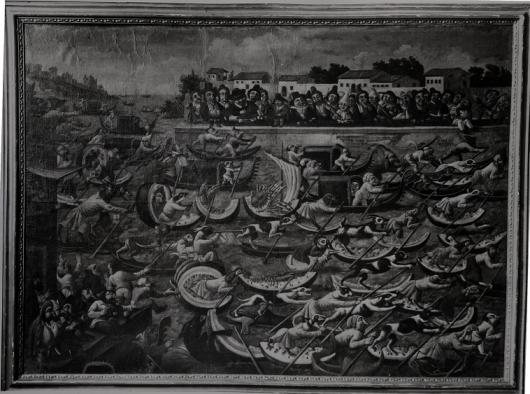 Watermelon Regatta by Master of the Fertility of the Egg, Before Restoration in 1963, in the John and Mable Ringling Museum of art