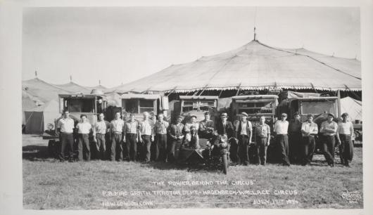 """The Power Behind The Circus\""; P.A. MacGrath Tractor Dept., Hagenbeck-Wallace Circus; 1934"