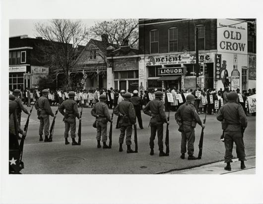 Guardsmen with Bayonets and Marchers(MLK Memorial March for Union Justice and to End Racism), Memphis, 1968 Photograph by Builder Levy in the Ringling Collection
