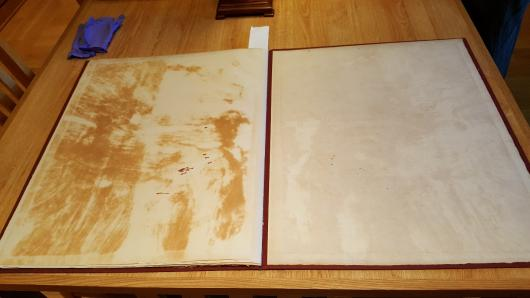 portfolio of A Full Length Portrait of The Marquis of Granby, showing yellowed glue