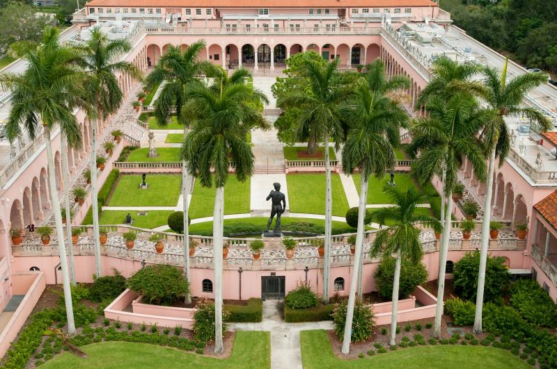 Aerial View of the Museum of Art Courtyard, Statue of David with Cuban Royal Palm Trees
