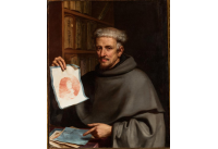A portrait of a friar holding a portrait of a man done in red media on paper