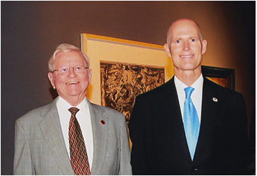 Former Florida Senator Bob Johnson and Florida Governor Rick Scott