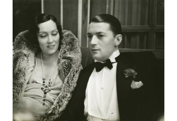 Gloria Swanson and Michael Farmer at the Palace hotel in St. Moritz, Switzerland.
