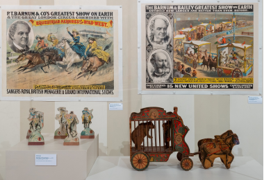 Historic Circus Posters and Toys featuring Wild West show and Polar Bear Cage Wagon
