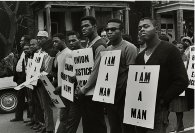 I am a Man, Union Justice Now (MLK Memorial March for Union Justice and to End Racism), Memphis, 1968 Photograph by Builder Levy in the Ringling Collection